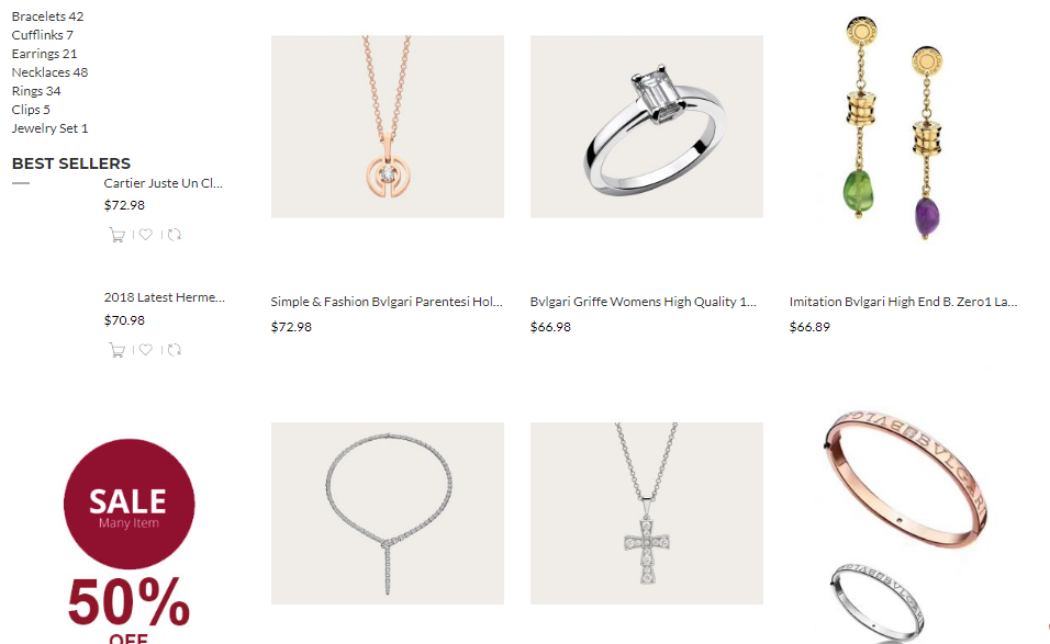bvlgari replica jewelry wholesalers
